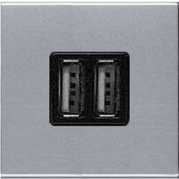 Зарядное устройство USB, 2-модуля, серебряный - ABB Zenit