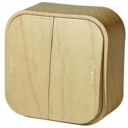 Выключатель 2-клавишный, наружный, под дерево - Legrand Quteo
