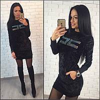 Платье из велюра с камнями р.S-М черный