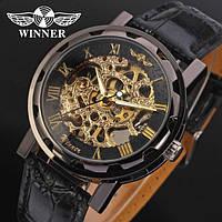 Мужские механические часы Winner Chocolate Skeleton (Кожаный ремешок) Гарантия!