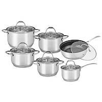 Набор посуды 12 предметов (кастрюли 2.1л, 2.9л, 4.0л, 6.5л; ковш 2.1л; сковорода 24см; полые ручки) Kamille