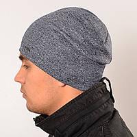 Двойная удлиненная шапка, меланж серый