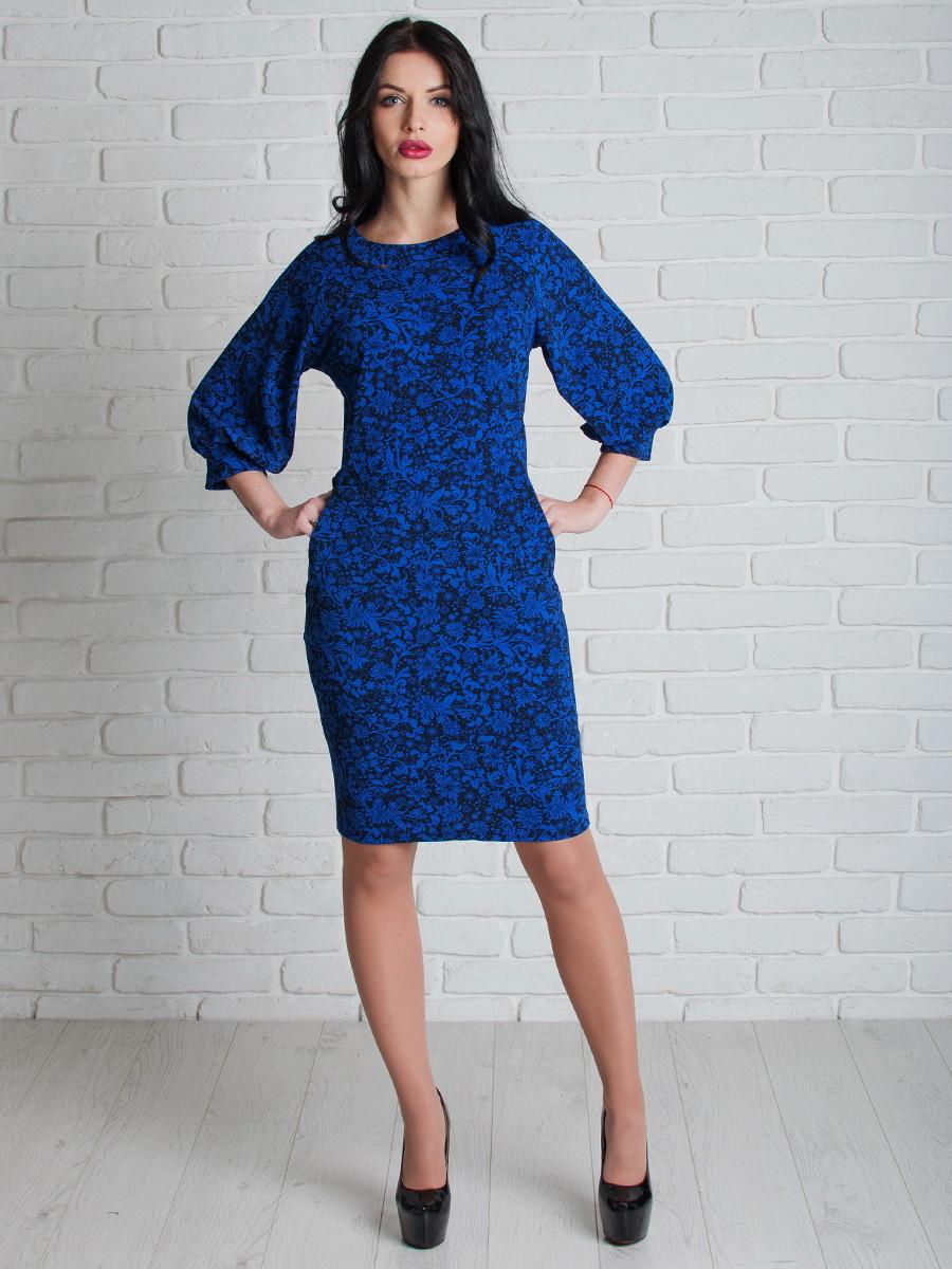 Синее женское платье с карманами 46, 48, 50, 52