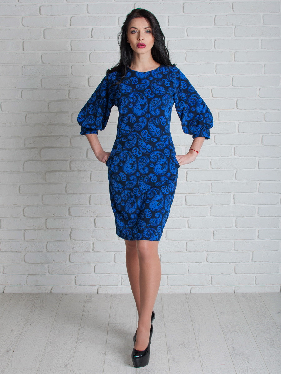Синє жіноче плаття з кишенями 46, 48, 50, 52