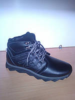Зимние мужские кожаные ботинки спортивного стиля черного цвета