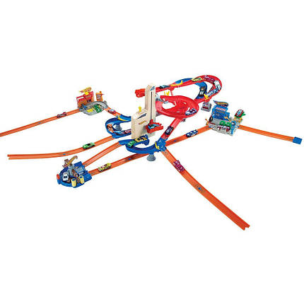 Трек Хот Вилс Автолифт 4 в 1 с 10 машинами Hot Wheels Auto Lift Expressway Play Set, фото 2