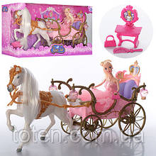 Карета принцессы с куклой и лошадкой 207A со светильниками. Стульчик, расческа, сумочка.