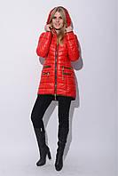 Модная зимняя женская куртка асимметричного кроя с молнией на спине и шарфом в комплекте