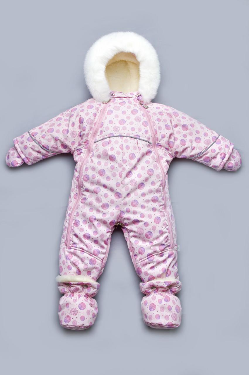 Меховой комбинезон-трансформер для девочки (Розовые спиральки), Модный карапуз