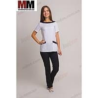 Медицинский костюм Мюнхен (белый/черный) №1018