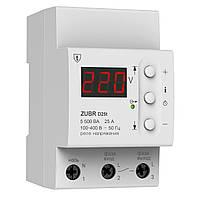 Однофазное реле контроля напряжения с термозащитой 25А ZUBR D25t