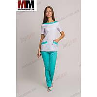 Медицинский костюм Мюнхен (белый/мятный) №1016