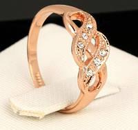 637 - Позолоченное кольцо с фианитами