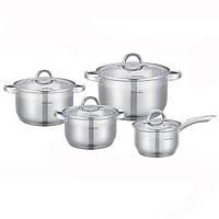 Набор посуды 8 предметов (ковш 2.1л; кастрюли 2.9л, 3.9л, 6.5л) из нержавеющей стали Kamille