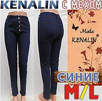 Лосины - леггинсы под джинсы  внутри мех KENALIN синие M/L размер джеггинсы с карманами сзади  ЛЖЗ-138