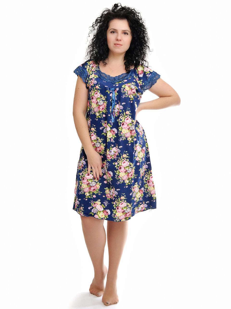 Женская ночная сорочка синяя с цветами