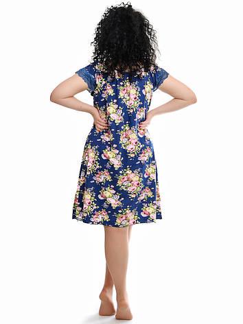 Женская ночная сорочка синяя с цветами, фото 2