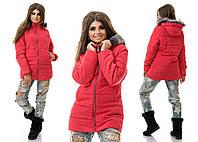 Теплая женская стеганая коралловая куртка с капюшоном.  Арт-3825/80