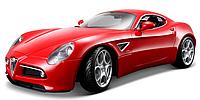 Автомодель Bburago - ALFA 8C COMPETIZIONE (2007) (красный металлик, 1:32)