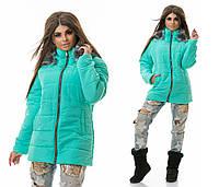 Теплая женская стеганая бирюзовая куртка с капюшоном.  Арт-3825/80
