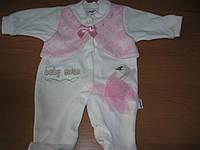 Детский велюровый нарядный человечек Лебедь  для девочки 62,68,74см Турция