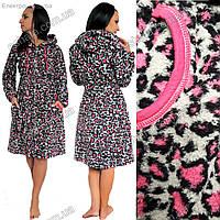 Женский  махровый халат на молнии средней длины Леопардовая расцветка L-XL размеры