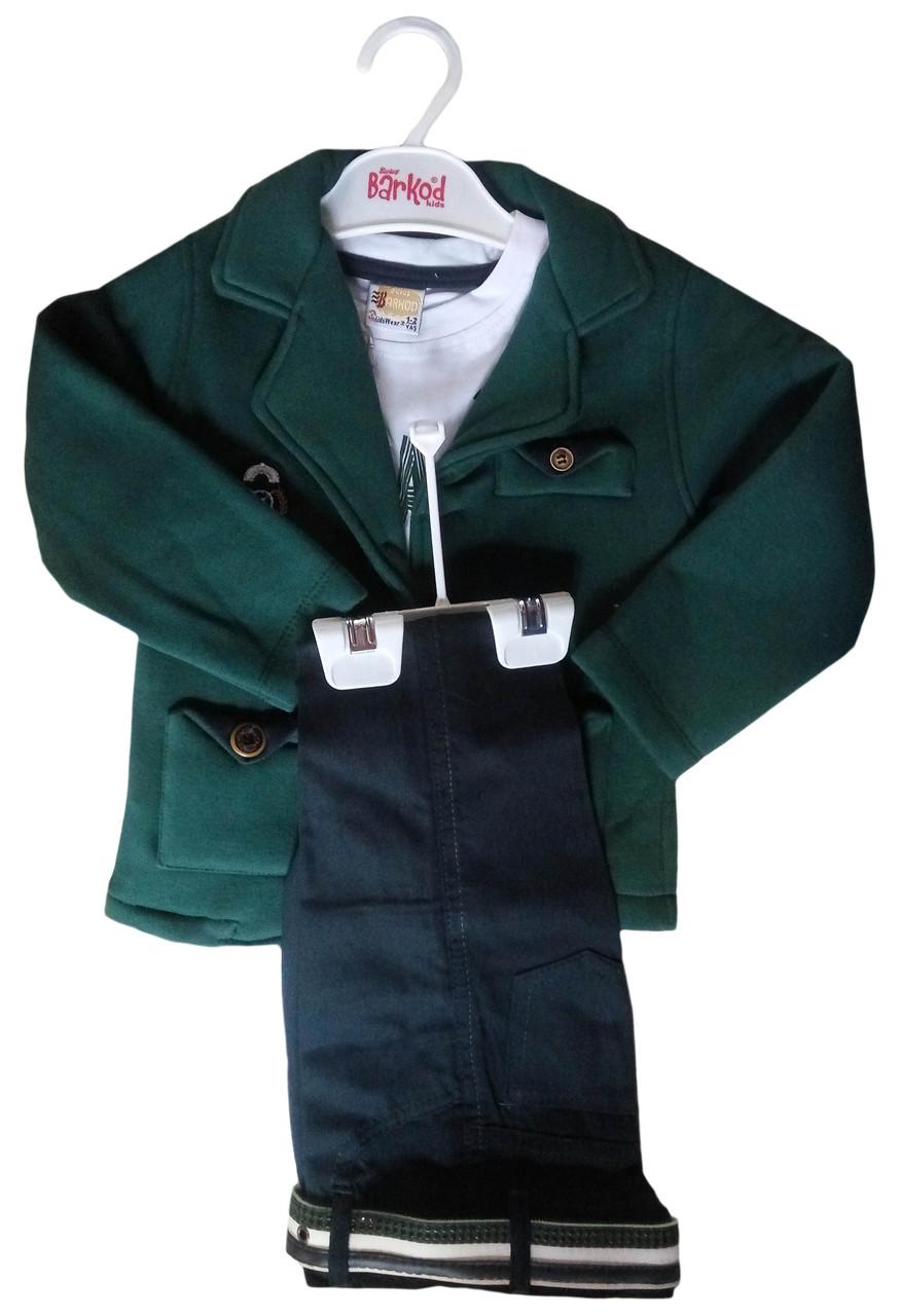 Детский стильный костюм на мальчика 1-4 г, джинсы, пиджак, футболка с длинным рукавом, зеленый, Турция, оптом-