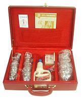 Массажные банки с насосом в металлическом красном кейсе — 18 банок