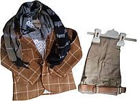 Детский стильный костюм на мальчика 1-3 года, джинсы, клетчатый пиджак, рубашка, шарф, песочный, Турция,оптом-