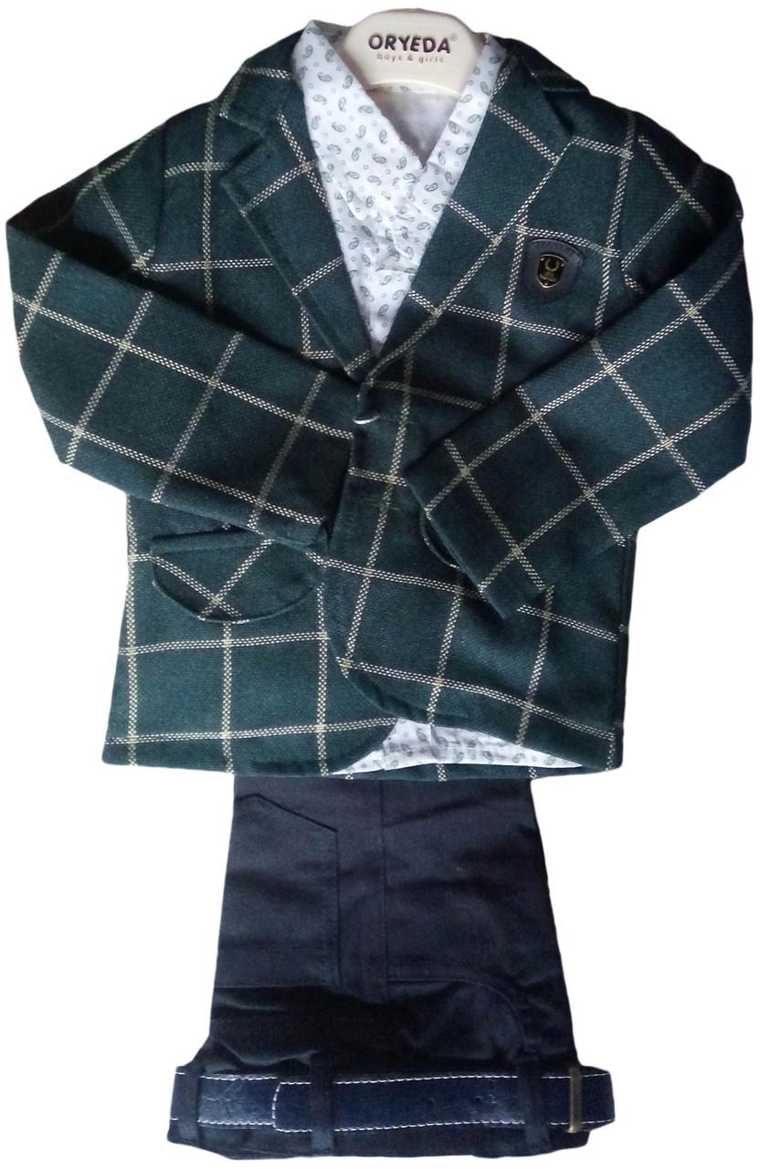 Детский стильный костюм на мальчика 1-3 года, джинсы, клетчатый пиджак, рубашка, шарф, зеленый, Турция, оптом-