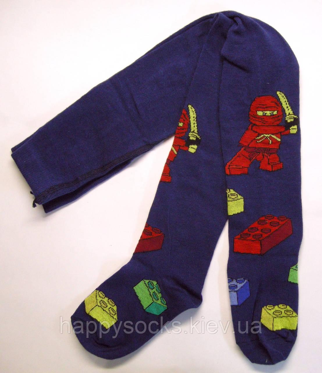 """Хлопковые мальчиковые колготки """"Лего Ниндзяго"""" темно-синие"""