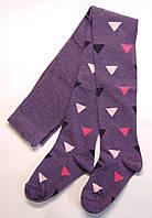 Фиолетовые хлопковые колготки на девочку в цветные узоры