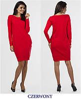 Платье туника женская  90 см длинна с длинным рукавом и карманами синее черное красное, фото 1