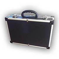 Кейс для косметики, инструментов, оборудования алюминиевый 425х285х120 мм (черный)