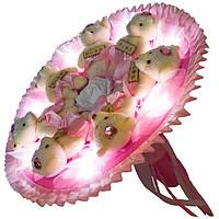 Светящийся букет из мягких игрушек Мишки в розовом