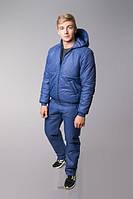 Мужской  синий теплый зимний спортивный костюм на синтепоне, батал. Арт-3828б/80