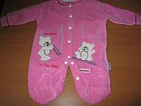 Велюровый комбинезон-человечек для девочки розовый Мишки  56  см  Турция, фото 1