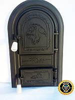 Печная дверца Лев Африканский, чугунные дверки для печи и барбекю