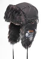 Теплая шапка-ушанка для мальчика Никита серая