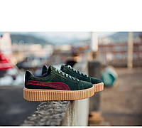 Замшевые кроссовки темно-зелёные