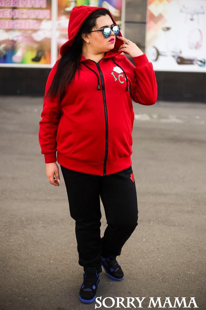 Теплый спортивный костюм plussize Ace Rose красный (48-74)