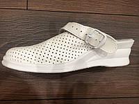 Сабо кожаные на платформе с хлястиком белый цвет