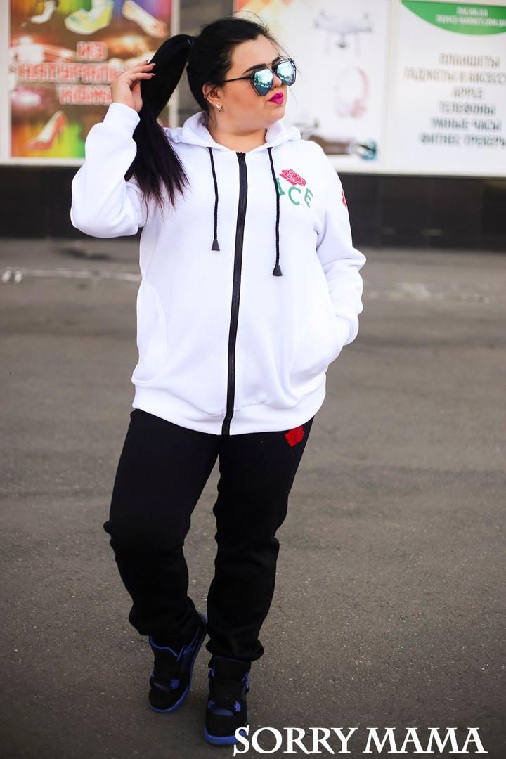 Теплый спортивный костюм plussize Ace Rose белый (48-74)
