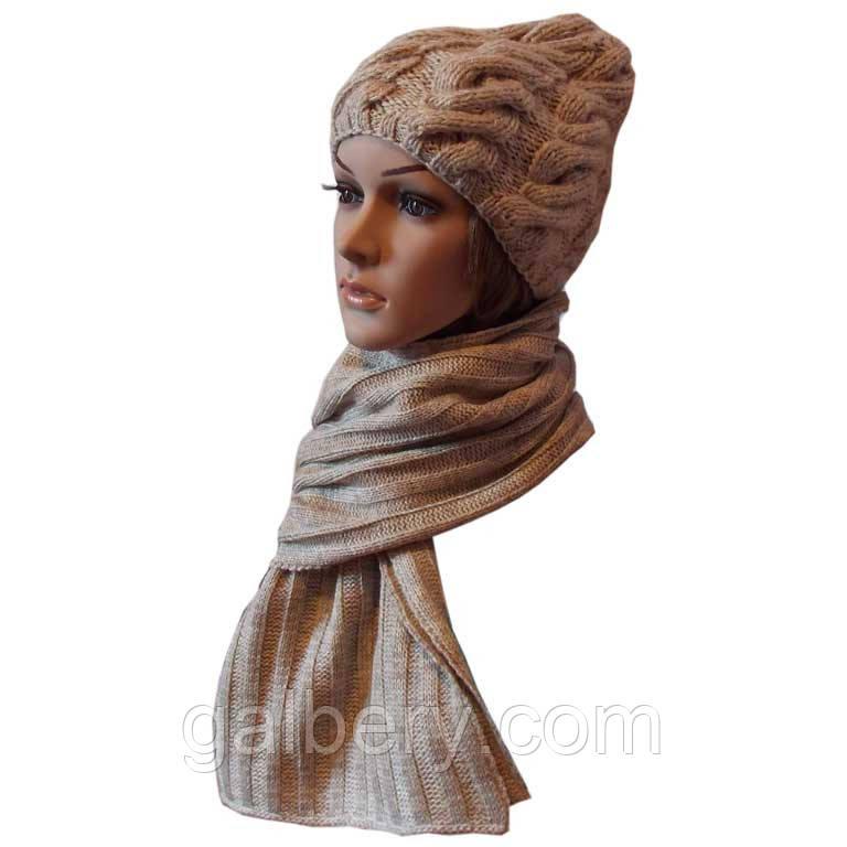 Женская вязаная шапка в стиле Лало, объемной ручной вязки, и шарф