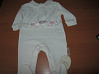 Детский нарядный комбинезон-человечек белый для девочки 62,68,74см  Турция