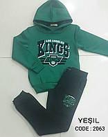 Теплый спортивный костюм для мальчиков подростковый Зеленый размеры: 158,164,170,176