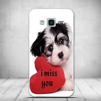 Чехол накладка силиконовая для Samsung Galaxy J3 J300 с рисунком Скучающий щенок