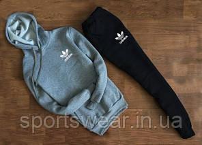 Мужской  костюм Adidas  с капюшоном серый свитшот белое лого