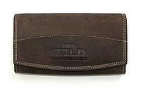 Вместительный кожаный кошелек Always Wild коричневый