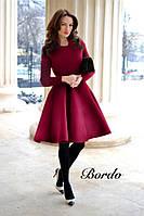 Сукня жіноча красиве з довгим рукавом ошатне чорне бордове...